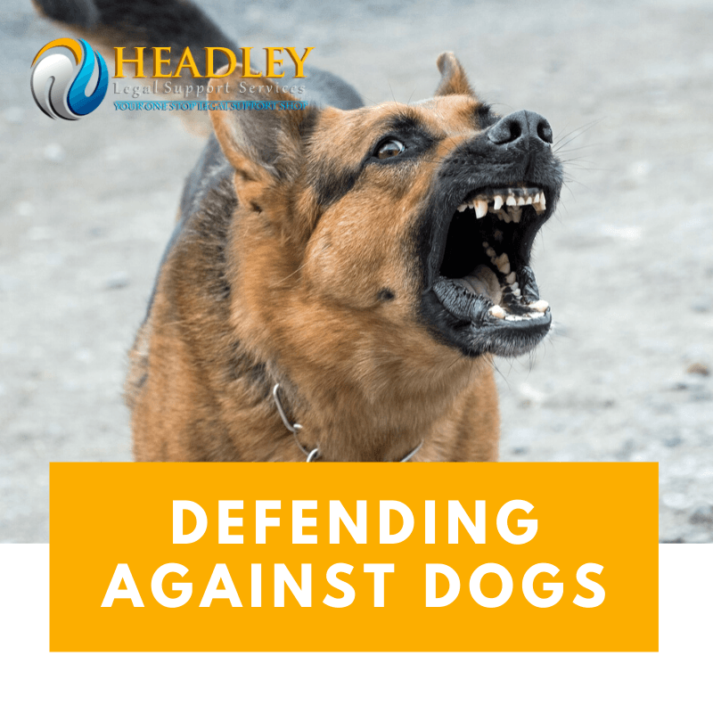 defend against dog, headley legal support